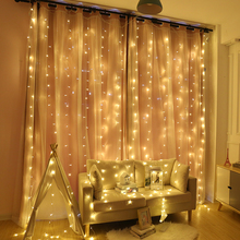 2x 2/3x 2/6x3M cortina LED guirnalda de luces tipo cortina Navidad Hada LED guirnalda luces al aire libre para el hogar boda fiesta jardín decoración