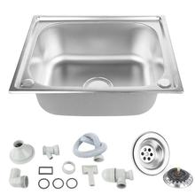 Kitchen Sink Stainless Steel Single Kitchen Sink Single Slot Dish Basin with Drain Basket and Drain Pipe Fixture 50*40*20 cm HWC