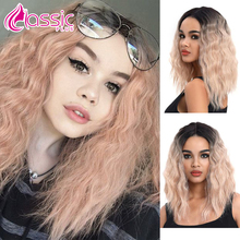 цена на Cosplay Synthetic Lace Front Wig Bob Blonde Short Wavy Bob Wig Pink Ombre Lace Front Wigs For Black Women Classic Plus