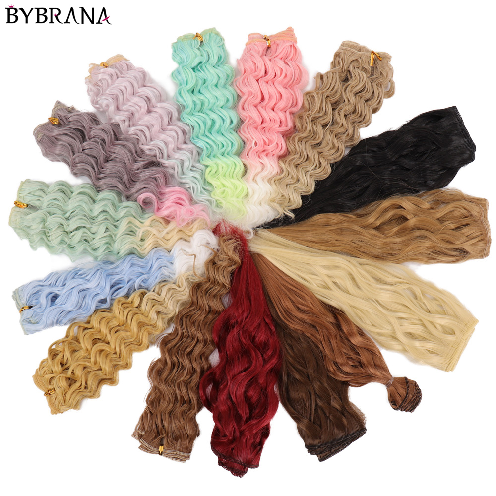 Bybrana Long curly black brown white hair High Temperature Fiber 25cm*100cm <font><b>BJD</b></font> SD Wigs DIY wig for <font><b>dolls</b></font> Free shipping image
