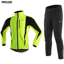 ARSUXEO Mens Thermal Fleece Cycling Jacket Set Winter Windproof Sportswear Bicycle Pants MTB Jersey Bike Suits Clothing 15kk
