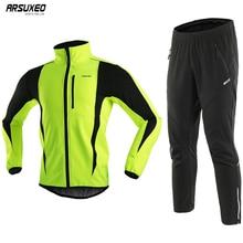 ผู้ชายARSUXEO ThermalขนแกะชุดฤดูหนาวWindproofกีฬากางเกงMTB Jerseyชุดจักรยานเสื้อผ้า 15kk