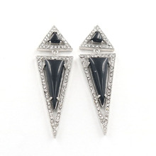 FYJS Unique Silver Plated Long Arrow Shape Black Agates with Rhinestone Stud Earrings for Anniversary Gift
