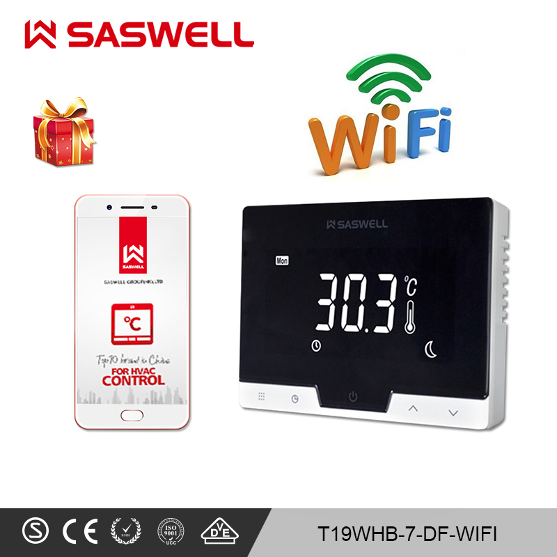 SASWELL WiFi Smart Thermostat Controller For Gas Boiler Room Thermostat Weekly Programmable Work With SCU210DE/209DE