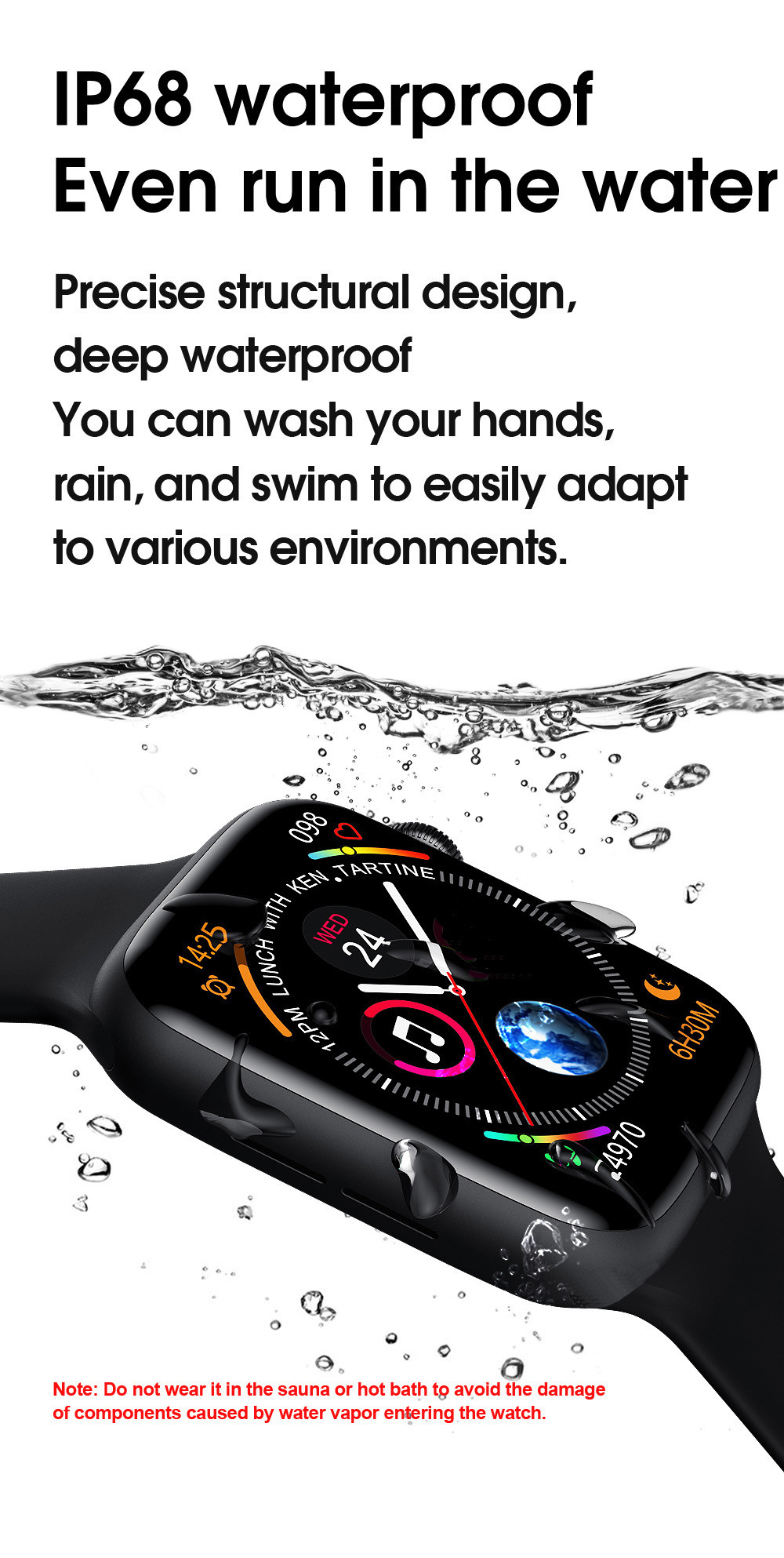 H252dca9b014e47b4afd265fb2f5421cez 2021 Original IWO W26 W46 Smart Watch Men/Women Heart Rate/Blood Pressure Monitor Clock Smartwatch For Android IOS PK HW22 HW16