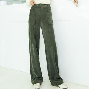 Large pocket overalls corduroy wide leg pants new high belt straight tube mop floor casual drape in autumn and winter 2019