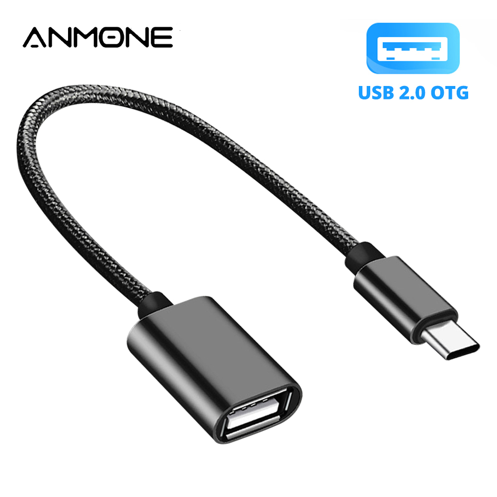 ANMONE Type C To USB 2.0 OTG Adapter Charging Type-C Cable Converter Mouse Gamepad Tablet PC Type C OTG USB Cable