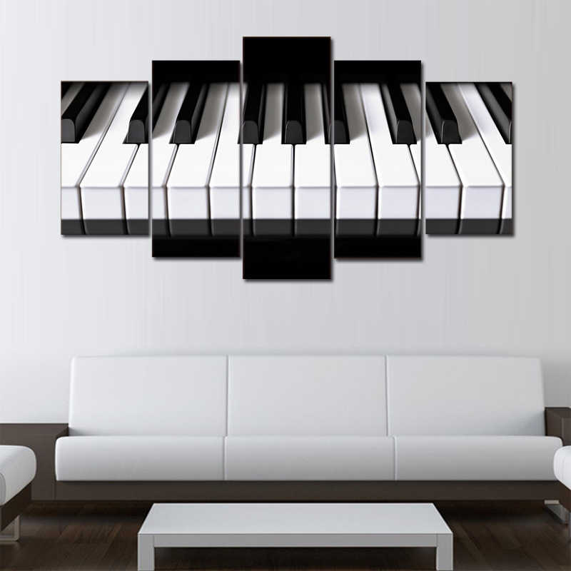 5 Piece Modern Music Piano Keys Painting Prints on Canvas Art Wall Home Decor Giclee Cuadros Decorativos Pictures for Bedroom