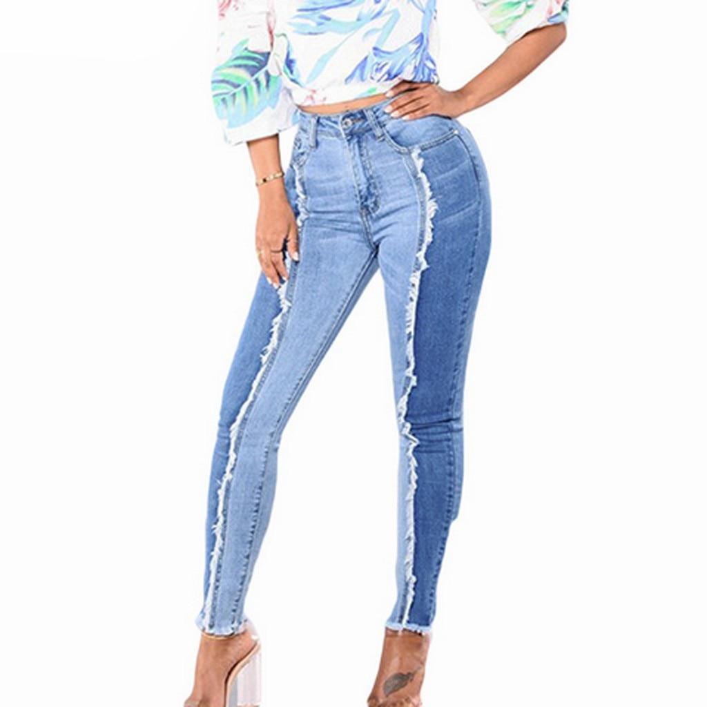 Plus Size Jeans Woman Denim Pants Slim Leggings Fitness Pencil Pants Streetwear Shinny Sexy Patchwork Leggins Length Jean Femme