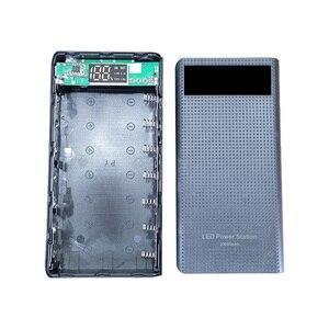 Image 3 - 7x18650 סוללה מחזיק DIY כוח בנק קופסא פלסטיק פגז מקרה סוג C USB יציאת תצוגת Powerbank תיבת אביזרים שחור לבן כחול