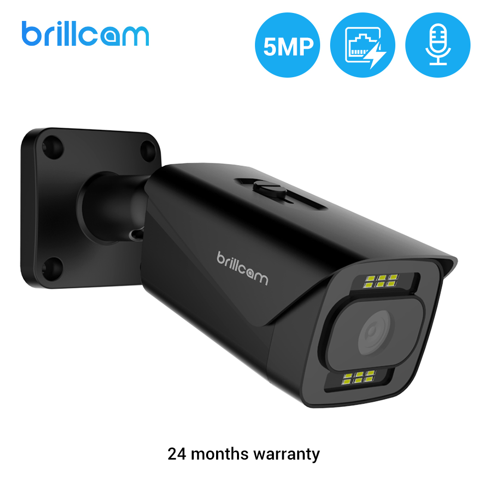 Brillcam 5MP POE IP camera Outdoor Color Night Vision Human Detection SD Card Slot Built-in Microphone Bullet Smart IP camera