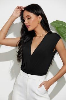 Sexy Body Suits for Women Plunge Neck Solid Bodysuit Women Summer Black Deep V Neck Sleeveless Skinny Bodysuit 2