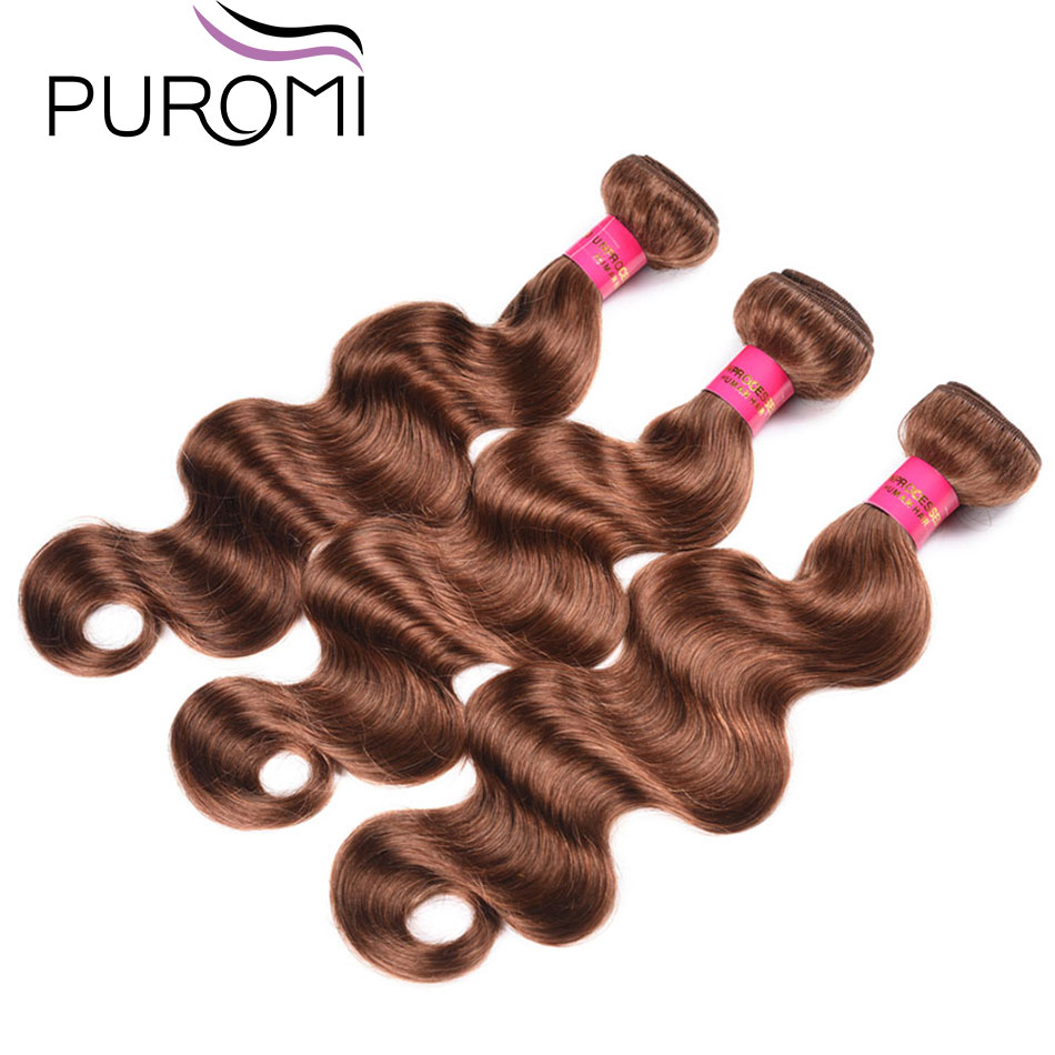 Puromi Brazilian Body Wave 3 Bundles Deal Pure Color #30 Hair Extensions Double Weft Hair Weave Non-Remy 100% Human Hair