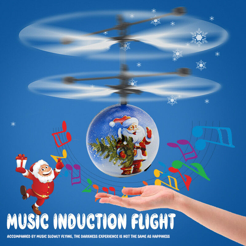 Christmas Mini Drone Induction Aircraft Music Santa Claus Aircraft Flying Toys RC Helicopter Xmas Gift Drone Toys For Children