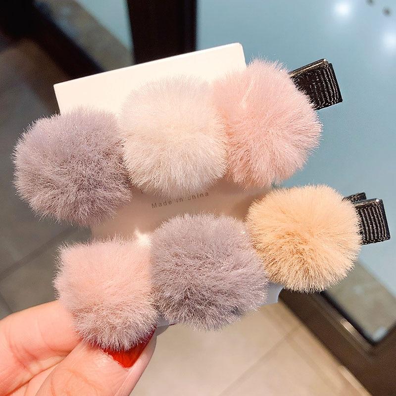 New Women Girls Cute Winter Soft Hairballs Barrettes Headband Sweet Hair Clips Hairpins Hair Ornament Fashion Hair Accessories