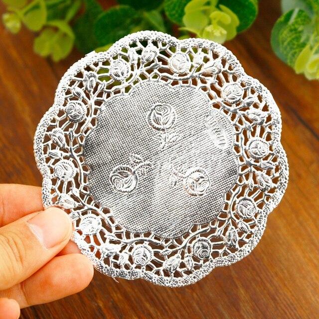 Doilies en papier rond en dentelle argent or | 3.5/4.5/5.5 pouces, doyères en papier, sous-verres Vintage, tapis de Table, décoration de mariage