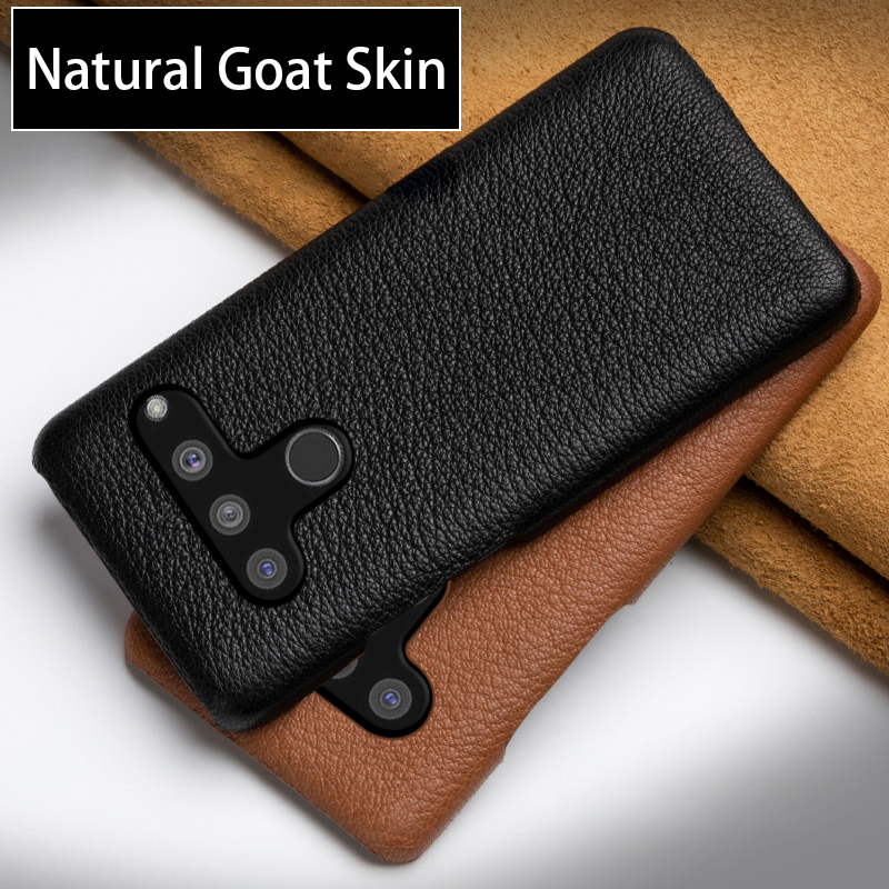 Leather Phone Case For <font><b>LG</b></font> <font><b>V50</b></font> G8S V10 V20 V30 V30s V40 Q6 Q7 Q8 G3 G4 G5 G6 G7 G8 <font><b>ThinQ</b></font> Case Luxury Natural Goat Skin Back Cover image