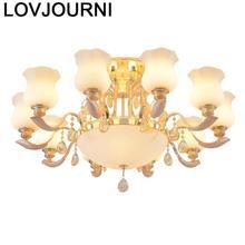 Luminaire Flesh Vintage Lustre E Pendente Para Sala De Jantar Fixtures Hanging Lamp Crystal Light Luminaria Deco Maison Hanglamp