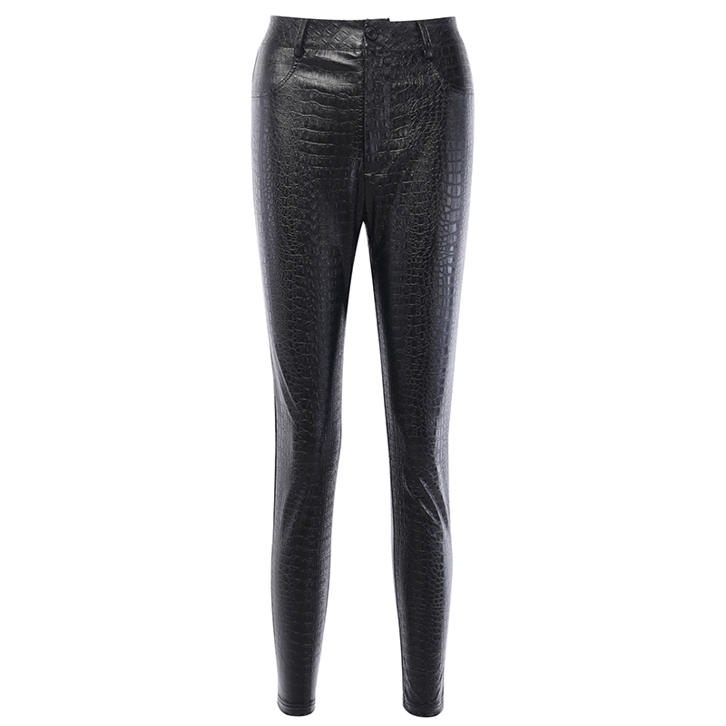 InstaHot Black High Waist Pencil Faux Leather Pants Women Casual Elegant Carving Print Ankle Length Pants Streetwear Trousers 6