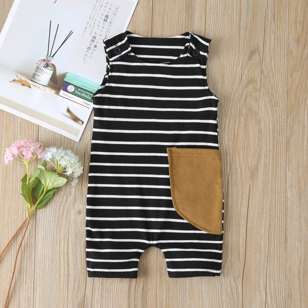 2021 New Baby Boys Girls Clothes Newborn Romper Infant Jumpsuit Summer Cotton Striped Patchwork Rompers Cool Shorts Babies 0-24M 3