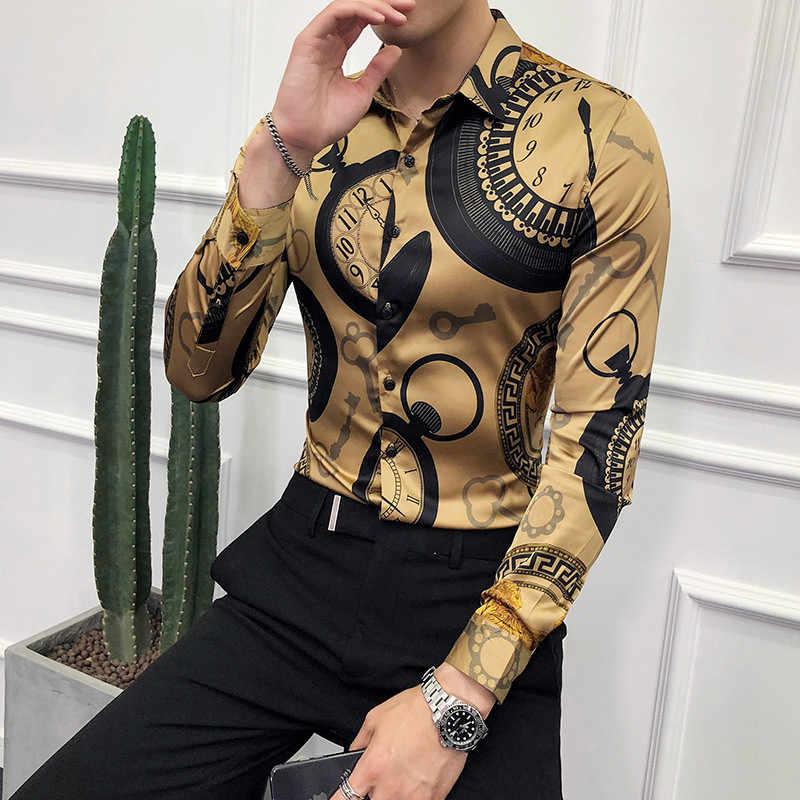 Camisa estampada de marca de moda para hombre, Camisa de fiesta barroca de manga larga, ropa de Club para hombre, Camisa de lujo para hombre camisa de esmoquin
