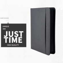 A4 notebook Document Folder PU Leather Zipped Ring Binder Conference Bag Business Briefcase Office School
