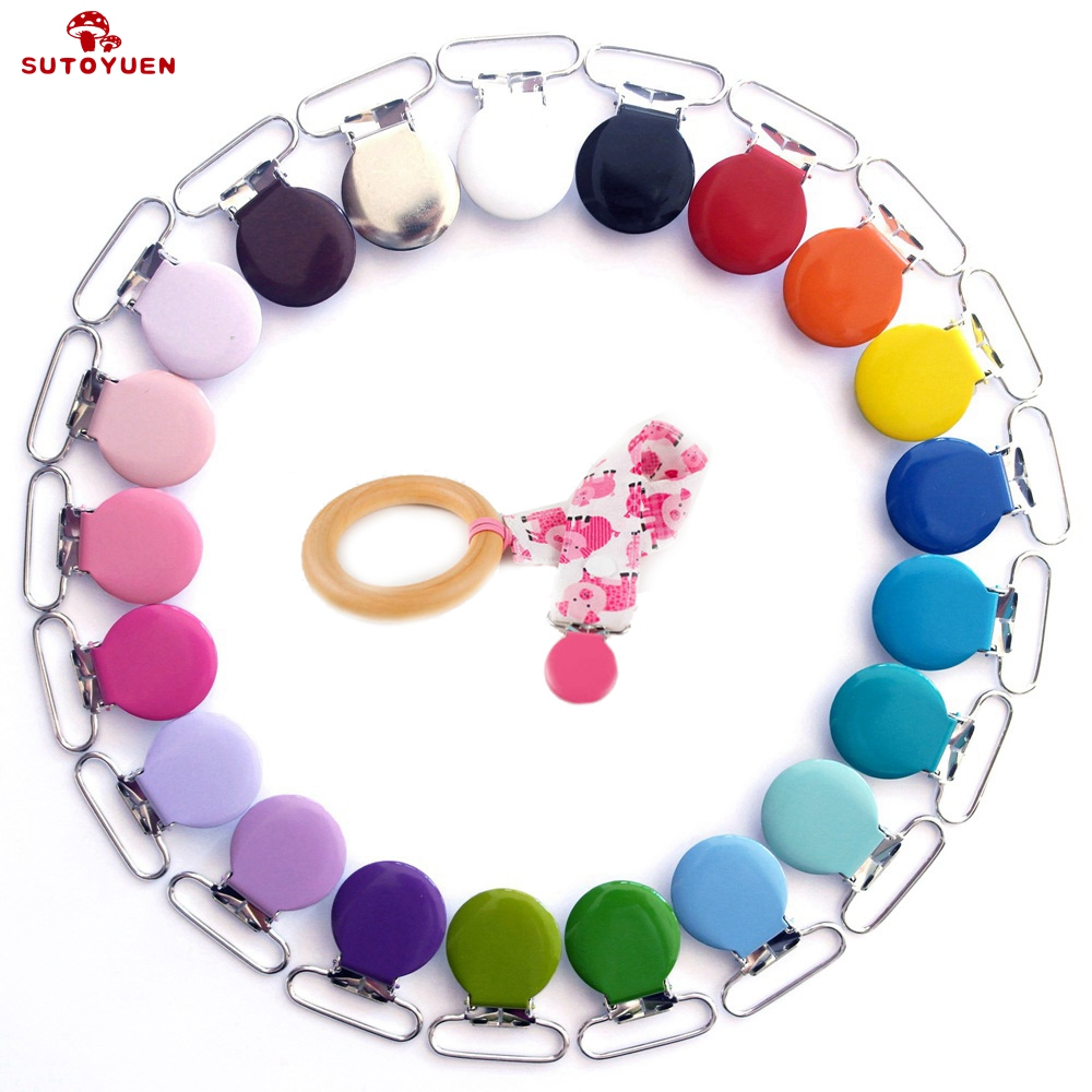 Wholesale 30 Pcs Baby Pacifier Clips Round Metal Holders Attache Sucette Baby Soother Clasps Safety Funny Accessories 25mm