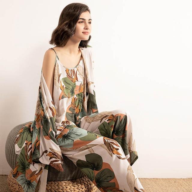 Cotton Viscose Ladies Three-piece Pajamas Set Women Spring and Autumn Comfortable Soft Home Suit Robes with Pants Pajamas Set 5