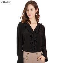 100% Natural Silk Blouse Women 2019 Long Sleeve Ruffles Crepe Chiffon Black Shirt Elegant V Neck Buttoned Up