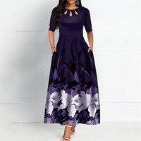 Elegant Round Neck Boho Bandage Print Long Midi Dress Black & Purpel