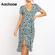 Aachoae Women Chic Floral Print Long Dress 2020 Short Sleeve Boho Beach Wrap