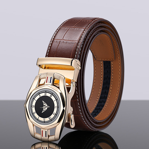 Image 4 - Cow genuine leather luxury strap male belts for men new fashion classice Automatic buckle men belt High Quality
