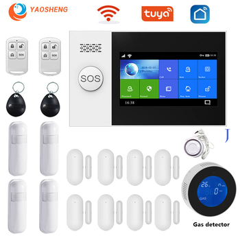WIFI Tuya Security Alarm System Kit Smartlife App Control With Gas Detector Auto Dial Motion Detector Gsm Home Smart Alarm kerui w18 tft screen wifi gsm home security alarm system pir motion detector app control door window detector alarm system kit