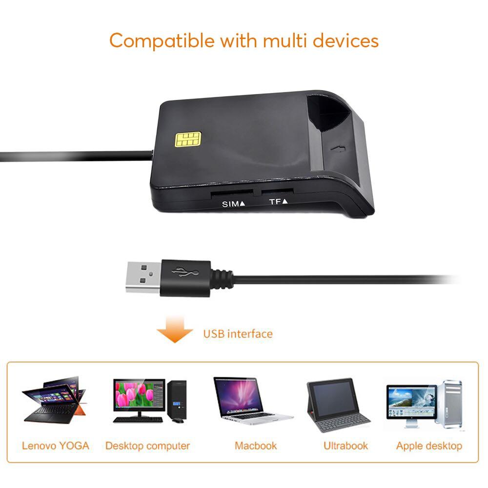 UTHAI X02 USB SIM Smart Card Reader For Bank Card IC ID EMV SD TF MMC
