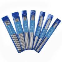 5 unids/set 20cm agujas de tejer rectas de acero inoxidable gancho de ganchillo de suéter tejido de tejer herramientas tamaño 2-5mm
