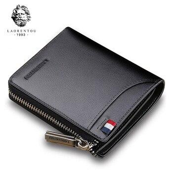 LAORENTOU Men Wallet Genuine Leather Card Holder Man Luxury Short Purse Zipper Wallets Casual Standard for Male