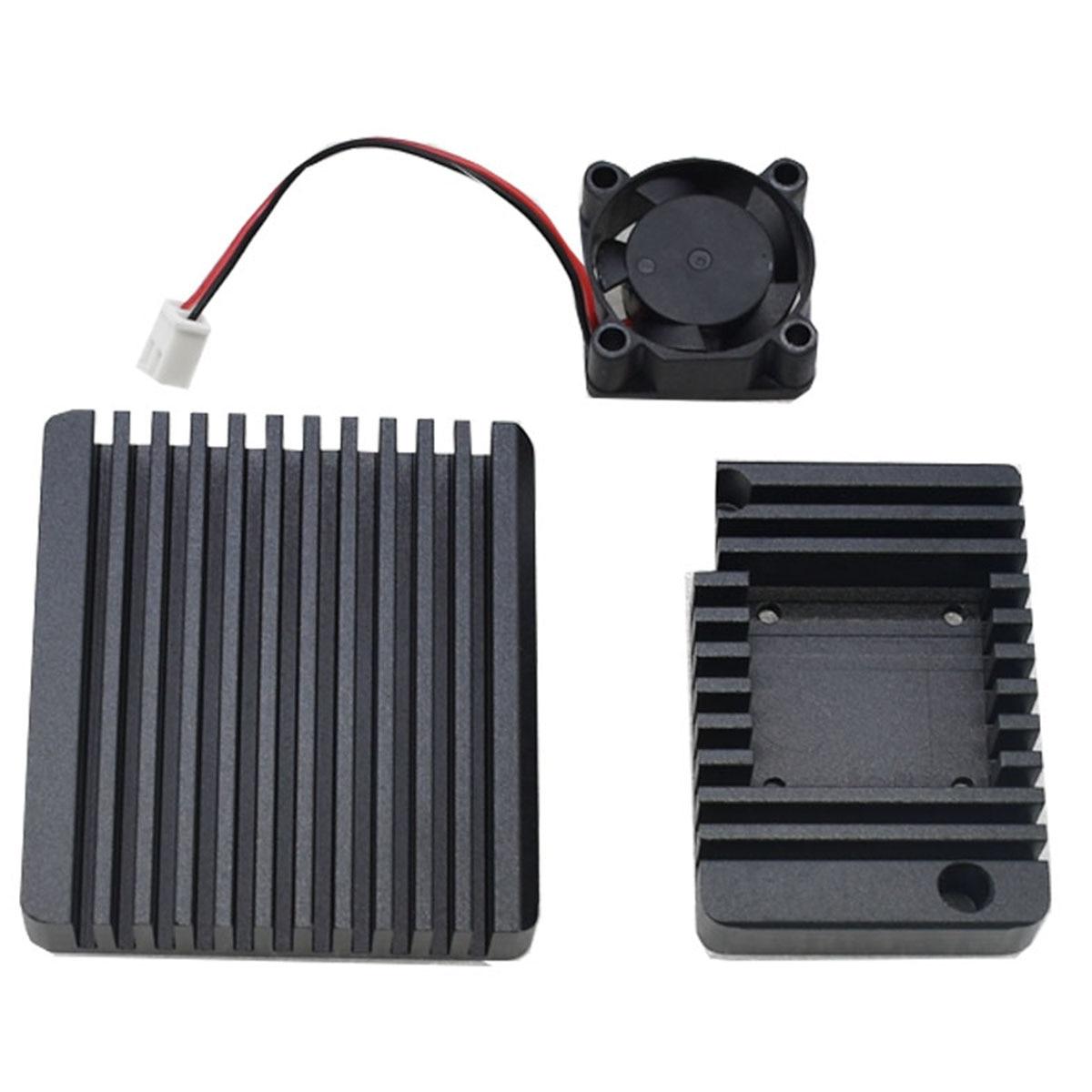 1 Set Of Quality Aluminum Case And Fan For NanoPi R2S Black Blue Golden Optional