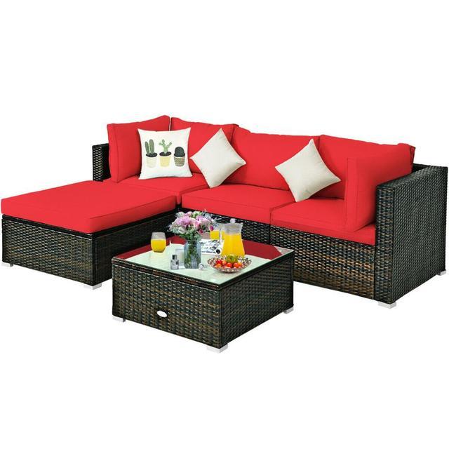 5PCS Patio Furniture Set w Red Cushions  2