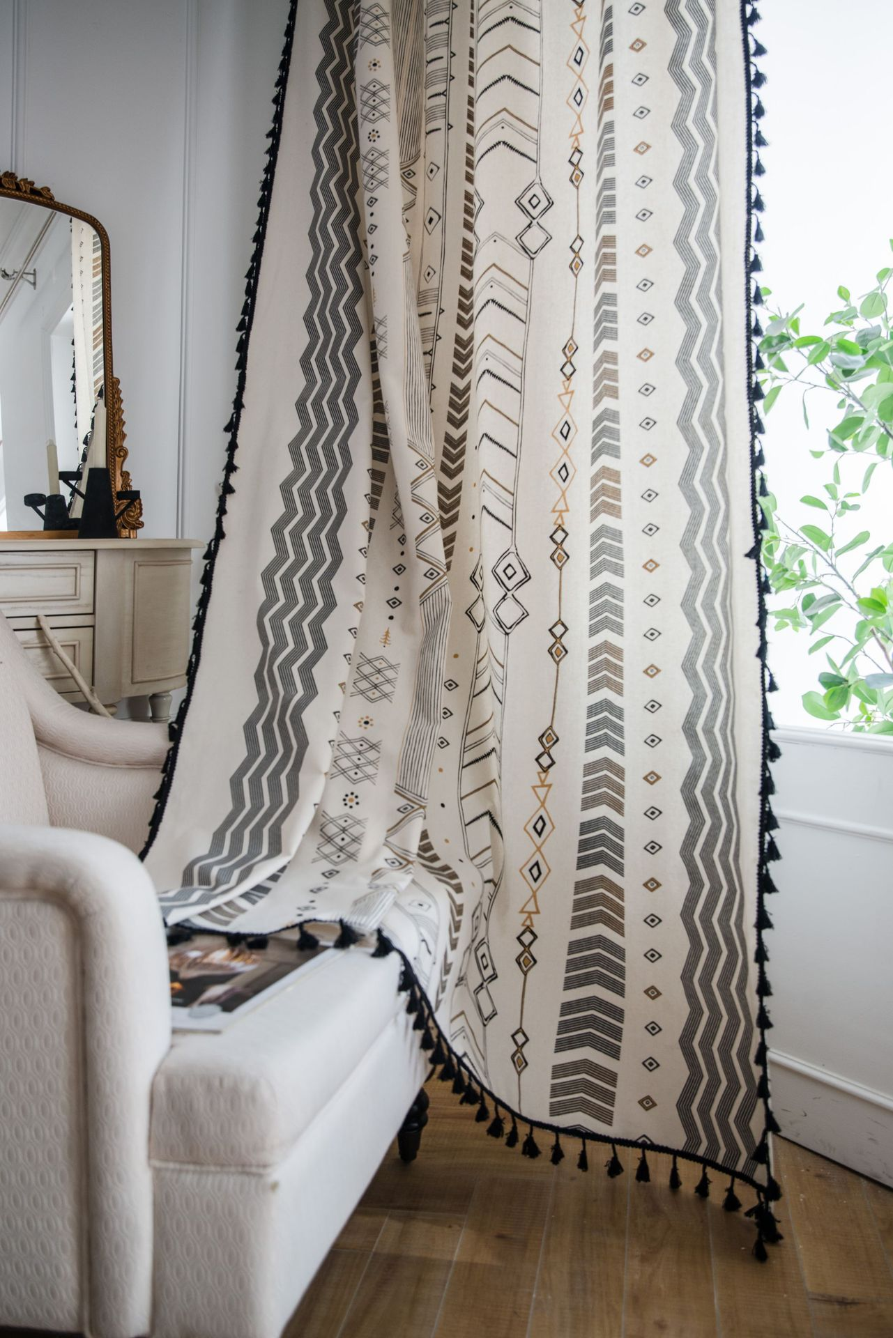 Curtain With Tassel For Living Room French Window Blinds Bedroom Bay Window Cotton Finished Curtains Bohemian Geometric Style Curtains Aliexpress