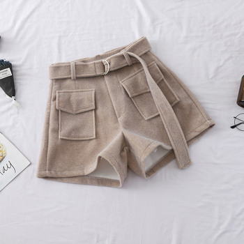 HELIAR Woolen Shorts Casual Fashion Korean Shorts Belt Shorts 2019 Autumn Winter Shorts Women Wide Legs High Waist Shorts фото