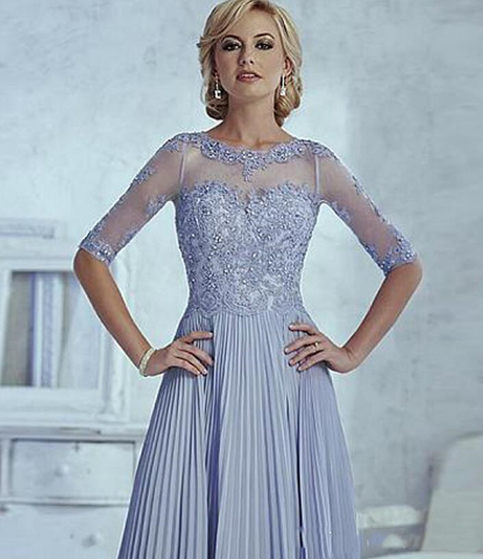 Half Sleeve Appliques Fashion Custom made Elegant Women Wedding Party evening gown Elegant 2018 <font><b>Mother</b></font> of the Bride Dresses image