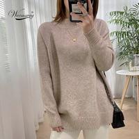 Женский свободный пуловер с воротником  1