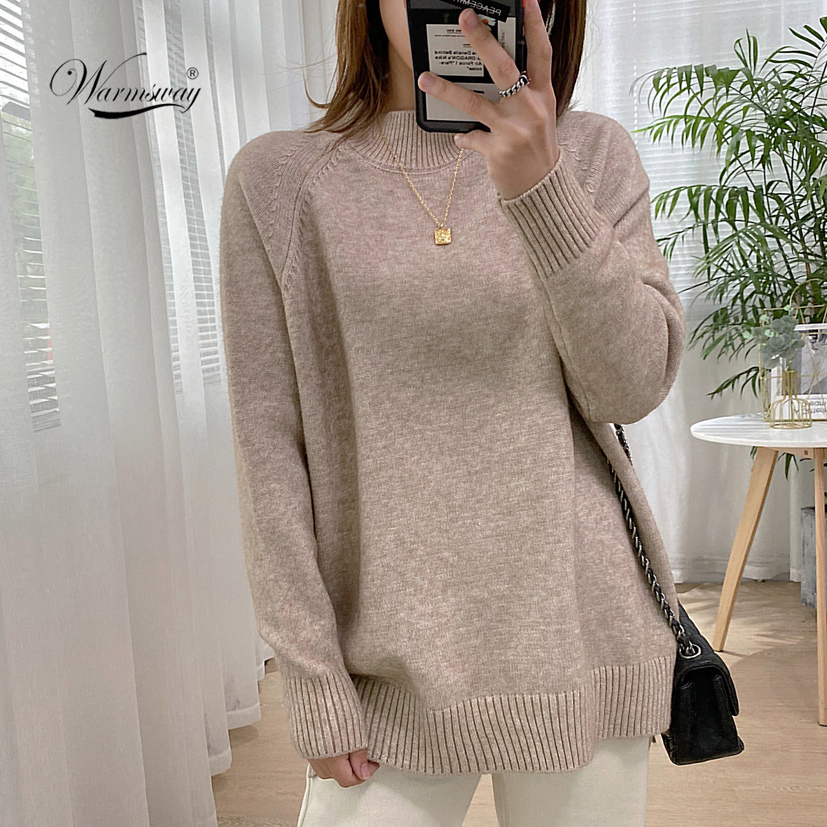 Women Mock Neck Pullovers Sweater High Quality Oversized Jumper Split Fall Winter Clothes Beige Purple Green 8 Colors  C-232