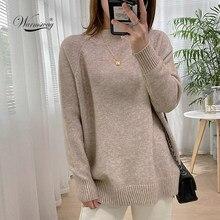 Kobiety Mock Neck swetry sweter wysokiej jakości sweter typu Oversized Split jesień zima ubrania beżowy fioletowy zielony 8 kolorów C-232
