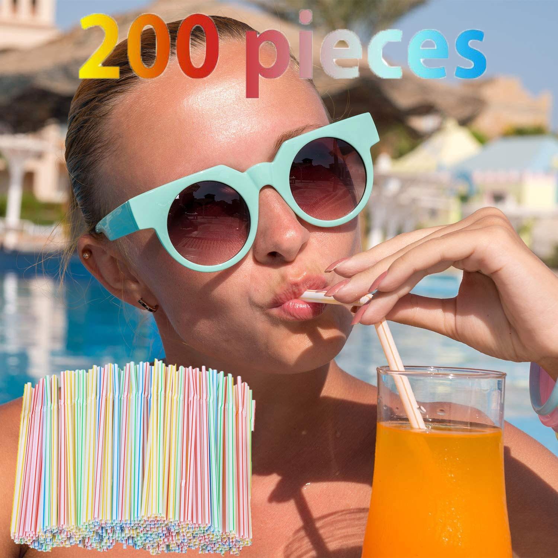 Pailles à boire en plastique, 8 pouces de Long, multicolores rayées, pliables, jetables, pour fête, 200 pièces, multicolore arc-en-ciel