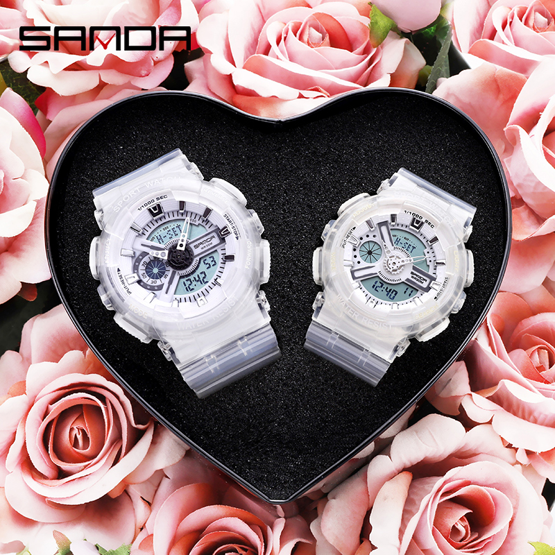 SANDA Watch Men And Women Transparent Watches Waterproof Multi-function Luminous Sports Double Display Couple Electronic Watch