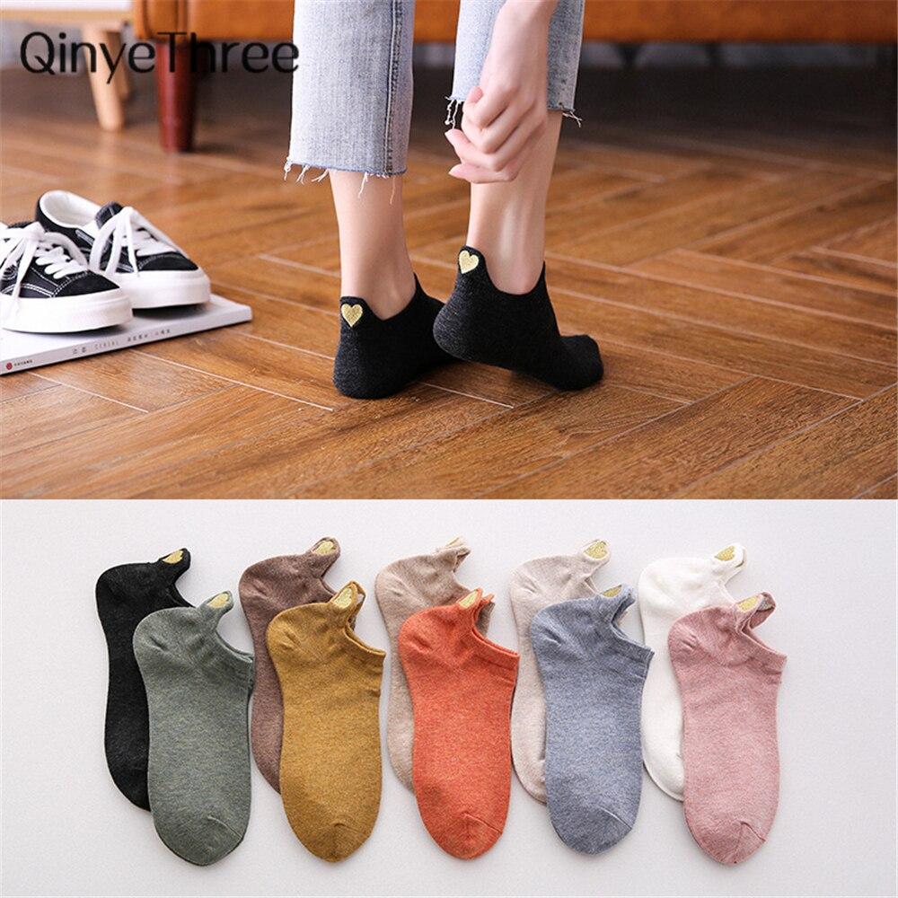 Summer Cartoon Cotton Women's Socks Creative Funny Embroidery Glitter Heart Socks For Female Cute Kawayi Girls Dropship