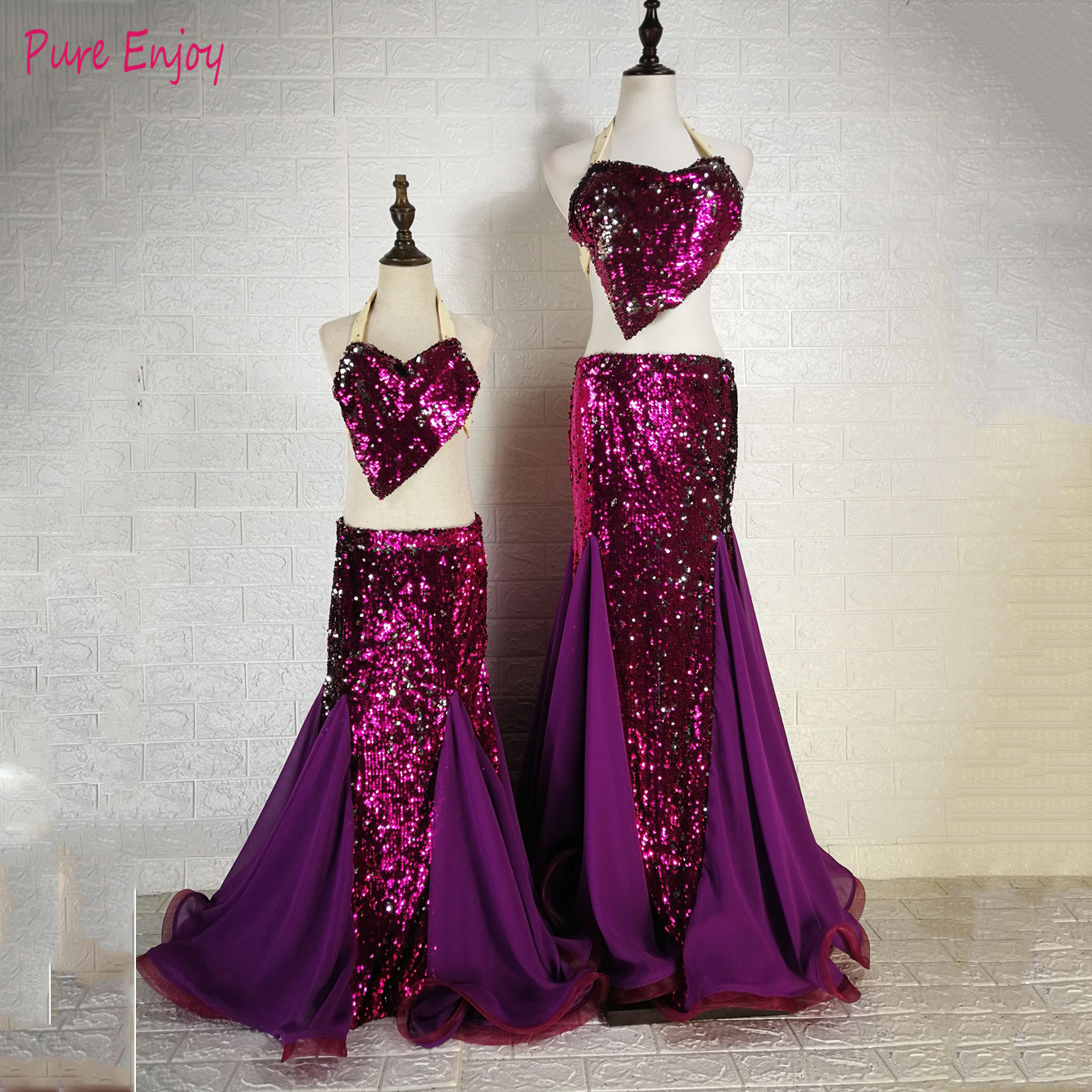 Custom Made Sexy Women Long Sequin Mermaid Maxi Dress Oriental Belly Dance Costume Set Bra Skirt Dancing Maxi Party Dress