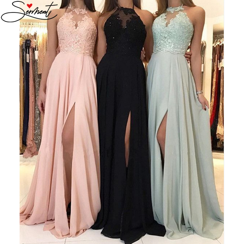 SERMENT 2019 Autumn and Winter New European and American Solid Color   Evening     Dress   Long Skirt Chiffon   Dress     Evening   Gown
