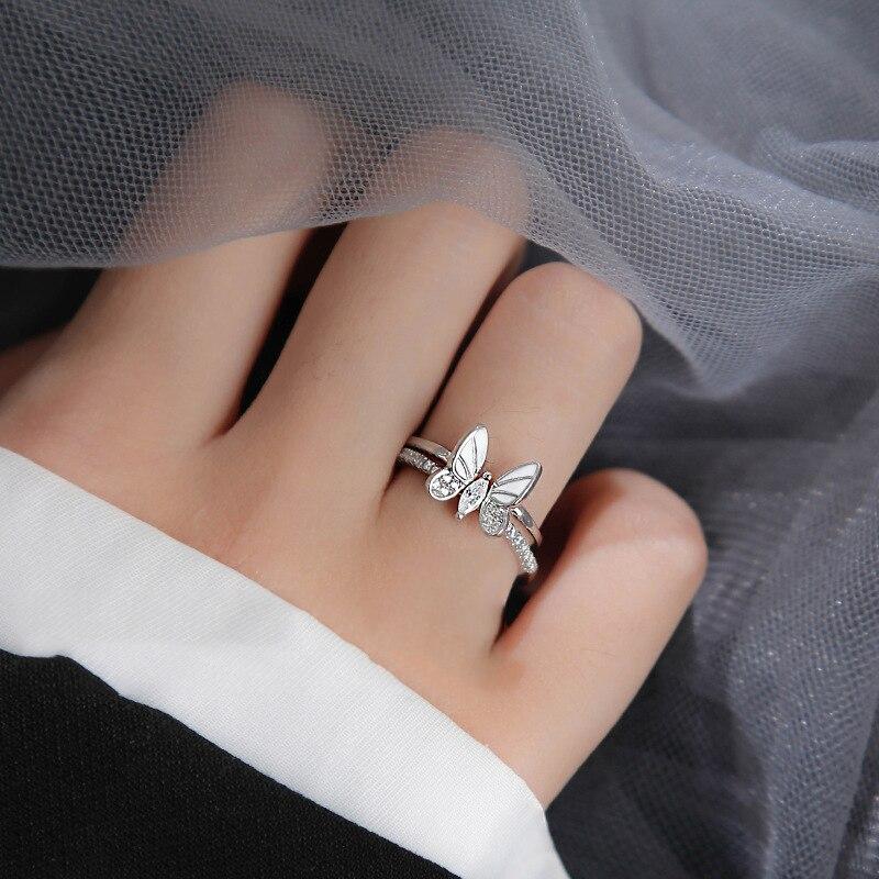 XIYANIKE 925 argent Sterling coréen blanc trois dimensions papillon Zircon Double anneau ensemble Unique conception insecte combinaison 4
